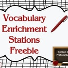 Vocabulary enrichment Stations Freebie