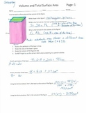 Volume and Total Surface Area Answer Key