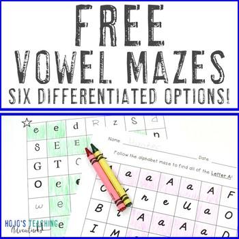 Vowel Alphabet Letter Maze FREEBIE