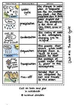 FREE Interactive Notebook Water Cycle Vocabulary Set by Sc