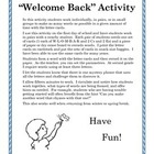"""Welcome Back"" Activity"