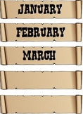 Western Theme Calendar months and days posters