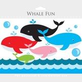 Whale clipart - whales clip art, nautical clipart, ocean,