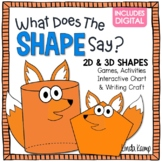 What Does the SHAPE Say? 2D & 3D Shapes Activities, Printa