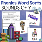 Sounds of Y Word Sort - Literacy Center - Freebie