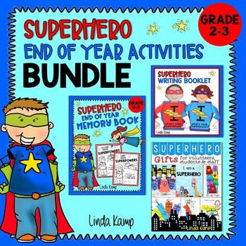 Memory Book, Superhero Writing Craft & End of Year Gifts BUNDLE Grades 2-3