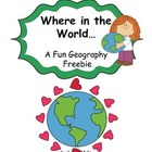 Where in the world - Geography Freebie