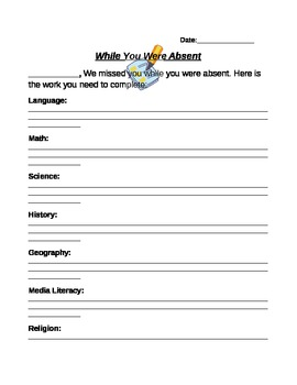 While You Were Absent--A Customizable Note for Students!