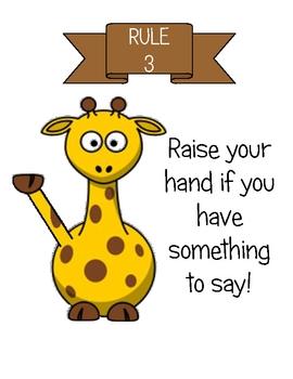 Wild Animal/Safari/Jungle Theme Class Rules Poster Set