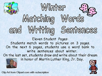 Winter Matching Words to Pictures and Writing- Kindergarten