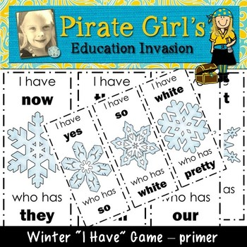 Winter Snowflake Dolch Sight Word Game (primer)