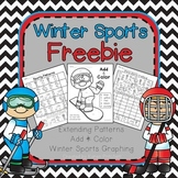 Winter Olympics Math graphing practice, add and color, and