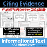 Winter Themed Nonfiction Text Dependent Questions with Cla