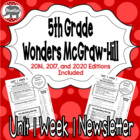 Wonders McGraw Hill 5th Grade Newsletter/Study Guide - Uni