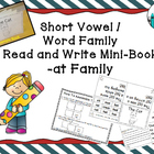 Word Family / Short Vowel Printable Mini Book (-at Family Only)