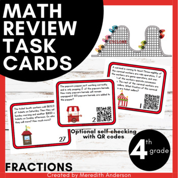 Word Problem Task Cards, Fractions, 4th Grade (QR Codes) Common Core