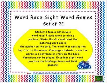 Word Race Sight Word Games Set of 22