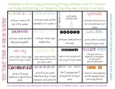 Word Study/ Spelling Bingo Sheet: 4 nights of homework. Fu
