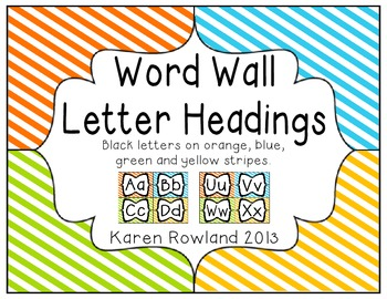 Word Wall Letters - Green, Yellow, Blue and Orange Stripes