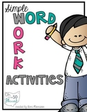 Word Work Activity Packet