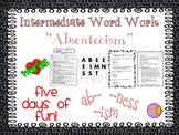 """Word Work and Vocabulary 5-Day Intermediate Unit """"ABSENTEEISM"""""""