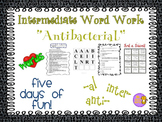 """Word Work and Vocabulary 5-Day Intermediate Unit """"ANTIBACTERIAL"""""""