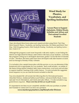 Words Their Way:  Complete Derivational Relations Stage Le