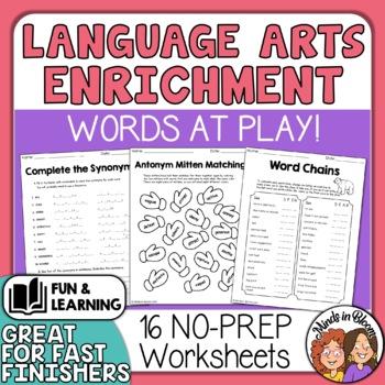Language Arts Printables! Fun Enrichment Puzzles, Games +