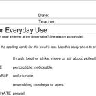 Words for Everyday Use Worksheets