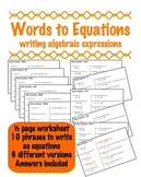 Words to Equations - Writing Algebraic Expressions for 6 Groups