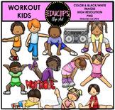 Workout Kids Clip Art Bundle