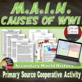 World War I - MAIN Causes Primary Source & Jigsaw Activity