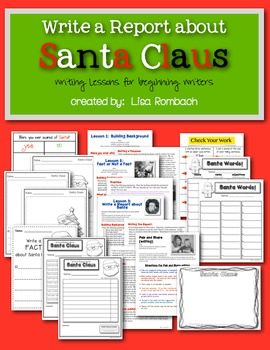 Write a Report about Santa Writing Lessons for Beginning Writers