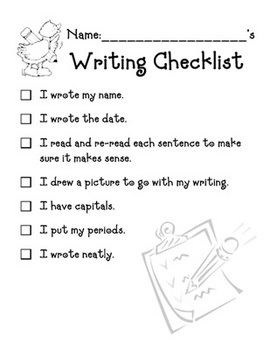 Writing Checklist -  worksheet