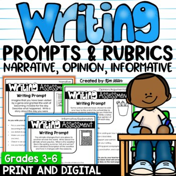 Writing On Demand Prompts & Rubrics (All Writing Standards: Grades 3-6)