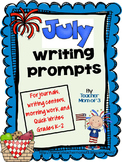 Writing Prompts for July for Journals and Writing Centers