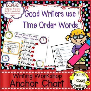 "Writing Workshop Anchor Chart - ""Good Writers use Time Ord"