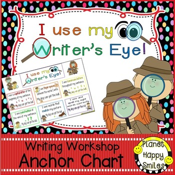 "Writing Workshop Anchor Chart - ""I use my Writer's Eye!"""