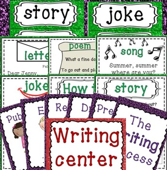 Writing center (plus writing process posters and word rings)
