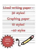 Writing paper with secondary lines,illustration, graph sec