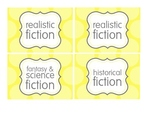 Yellow and Gray - Book Bin/Basket Genre Labels - Leveled Labels