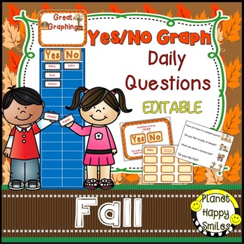 Yes/No Graph Questions about Fall, pumpkins, apples, Hallo