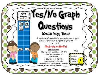 Yes/No Graph Questions in Croakin Froggy Theme