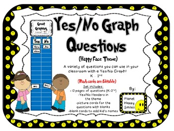 Yes/No Graph Questions in Happy Face/Smiley Face Theme