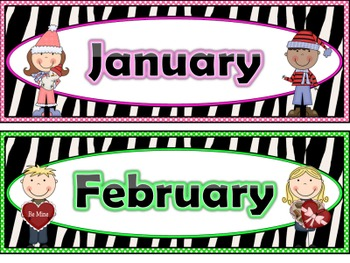 Zebra Print Calendar Months and Days of the Week