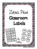Zebra Print & Pastel Classroom Labels