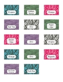 Zebra Print Teacher Toolbox Labels - Blank Included