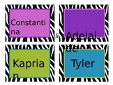Zebra Themed Name Tags