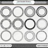 Zentangle Circle Frame ClipArt - Round Border Clip Art - D