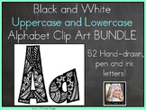 Black and White Uppercase and Lowercase Alphabet Clip Art BUNDLE